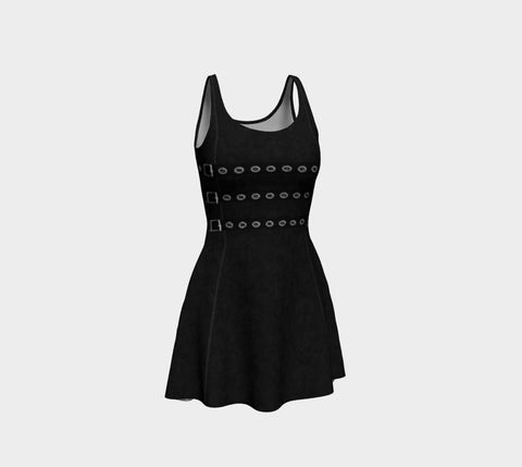 Buckled Faux Leather Print Goth Skater Dress