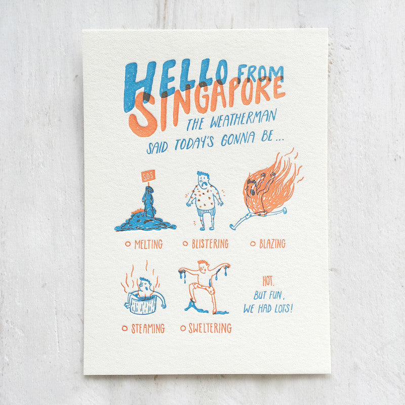 Fingersmith Hello from Singapore letterpress postcard