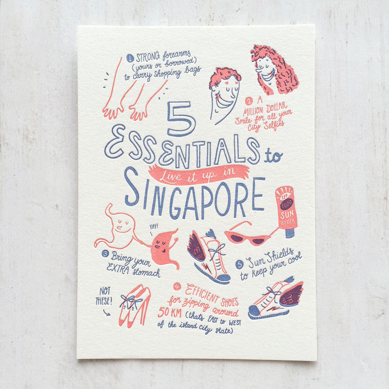 Fingersmith five essentials in Singapore letterpress postcard
