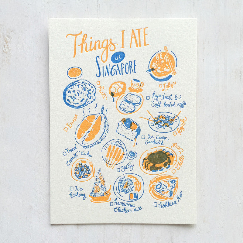 Fingersmith Things I ate in Singapore letterpress postcard