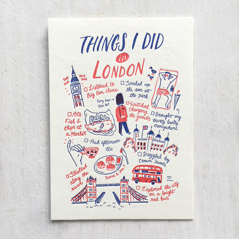 Fingersmith Things I did in London letterpress postcard