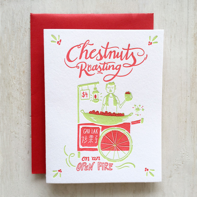 christmas chestnuts singapore letterpress greeting card