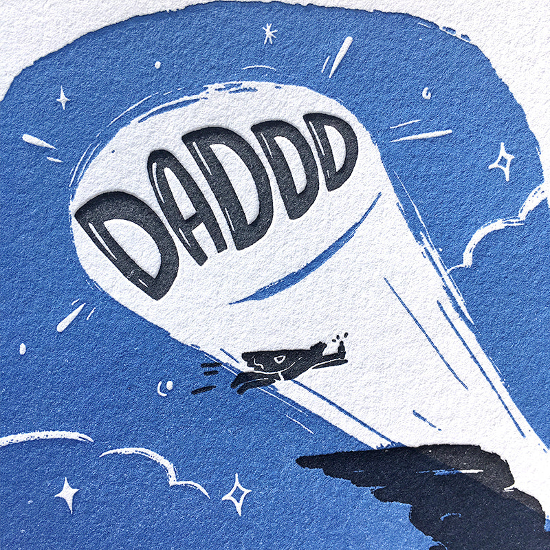 super dad letterpress greeting card