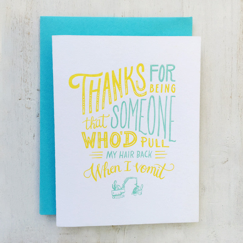 thank you vomit friendship letterpress greeting card
