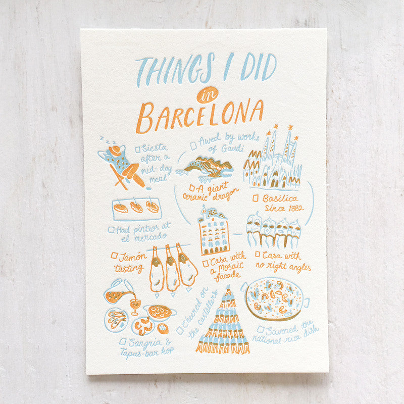 Barcelona, Things I Did Letterpress Postcard