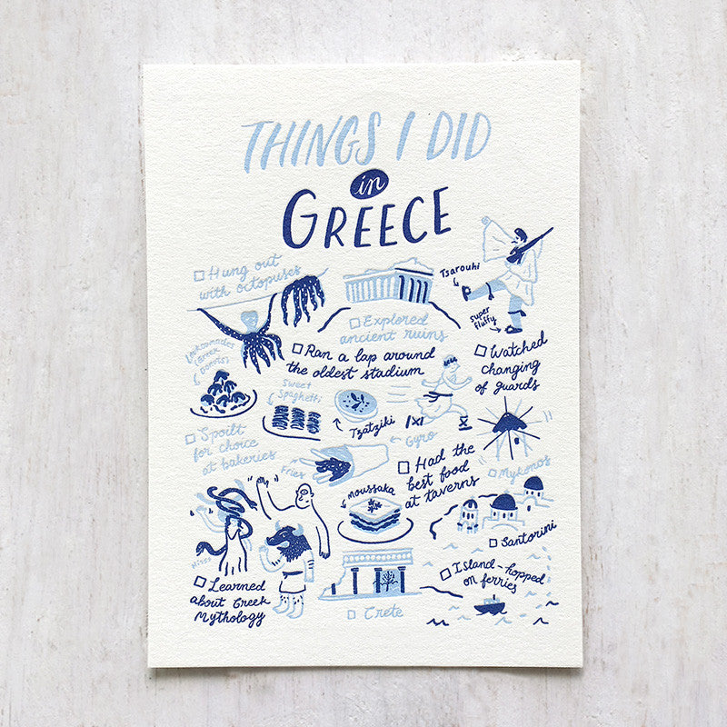 Fingersmith Things I did in Greece letterpress postcard