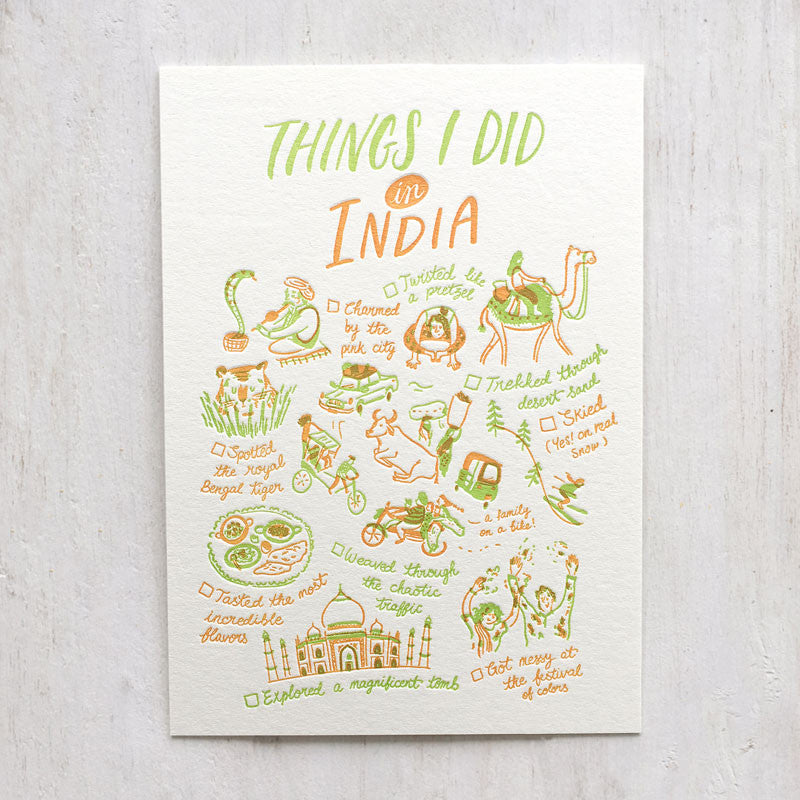 Fingersmith Things I did in India letterpress postcard
