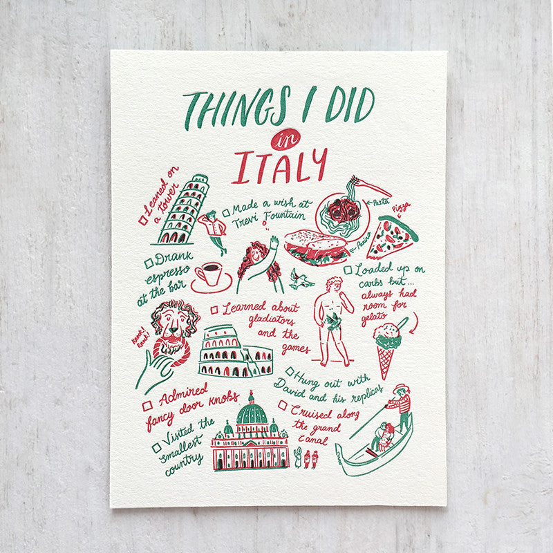 Fingersmith Things I did in Italy letterpress postcard