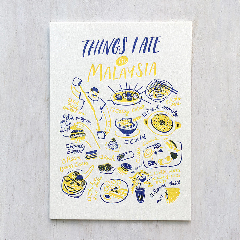 Fingersmith Things I ate in Malaysia letterpress postcard