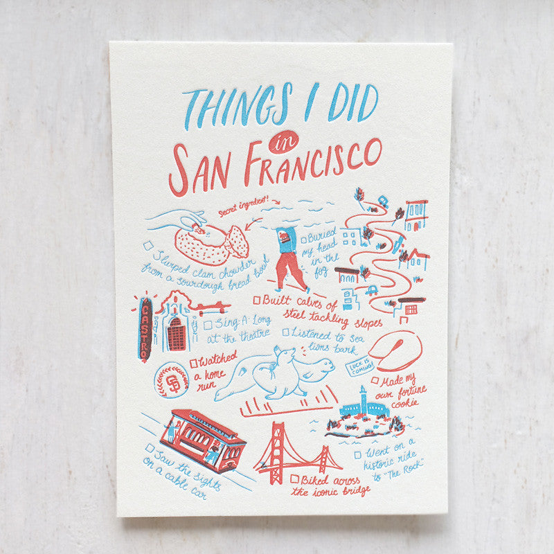 San Francisco, Things I Did Letterpress Postcard