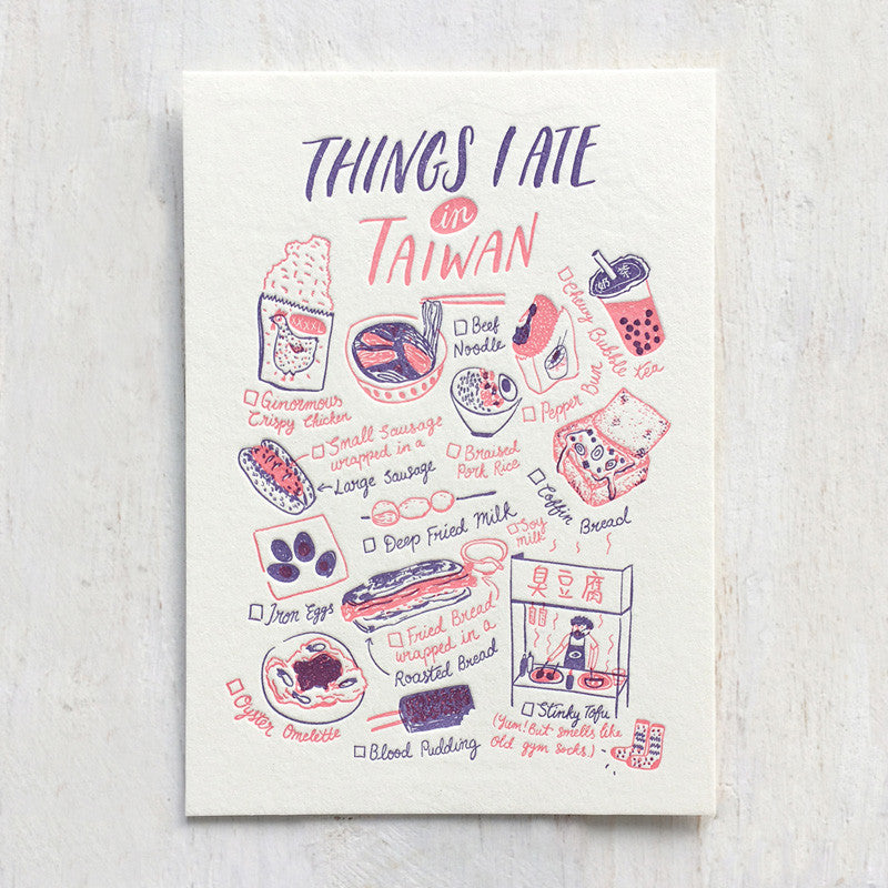 Fingersmith Things I ate in Taiwan letterpress postcard