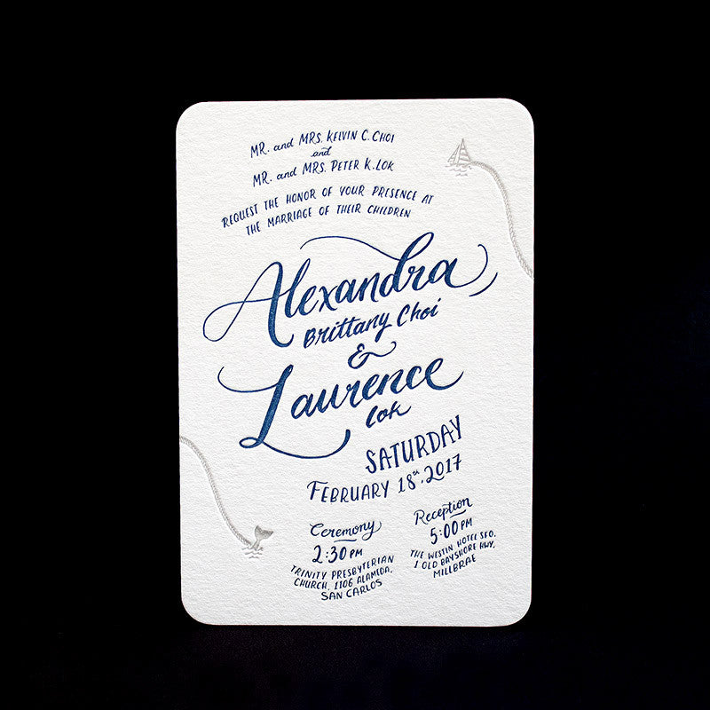 Fingersmith hand-lettering and illustration letterpress wedding stationery