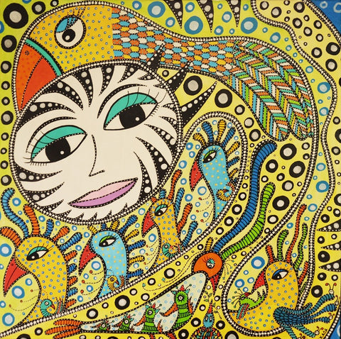 HAND DRAWN PAINTING: BirdTastic Fantasy/ Fuglistisk Fantasi - 40 x 40 cm (Sold/Private)