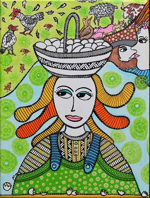 TEGNET MALERI: Konen med æggene/ The Woman with the Eggs (H.C. Andersen) -  30 x 40 cm
