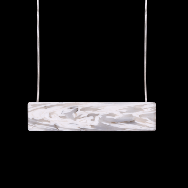 Laura Nelson Jewellery - Bar Necklace White with sterling silver chain