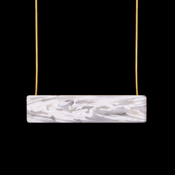Laura Nelson Jewellery - Bar Necklace White with 23.7ct hard gold plated sterling silver chain