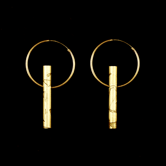 Laura Nelson Contemporary Jewellery - Gold Plated Carse Tube Hoops
