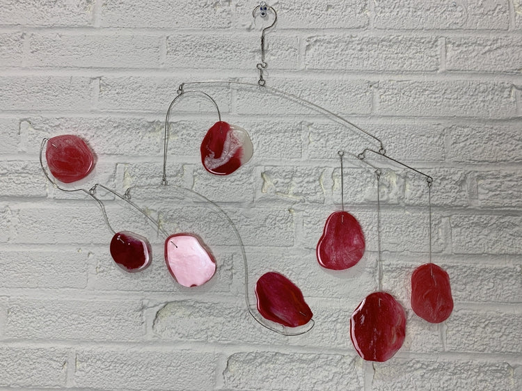 Mobile Art Hanging Ceiling Sculpture in Red Glow