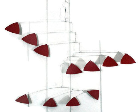 Red Mobile Calder Inspired in Triangle Style