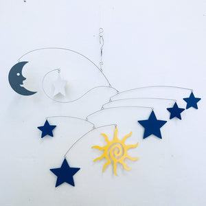 Mobile with Sun Moon and Stars for Nursery Playroom or Sunroom or Baby Mobile
