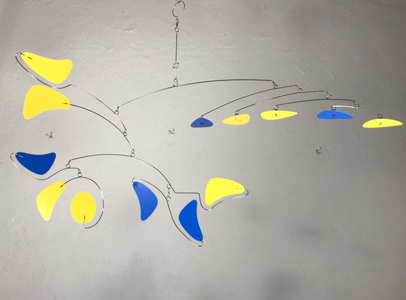 Mobile in Yellow and Blue For Low Ceiling Loft or Sun Room Serenity Style in Yellow and Blue Modern Wire Kinetic Sculpture