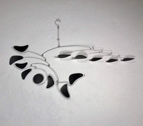 Mobile For Lower Ceiling or Loft - Serenity Style in Black Modern Mobile Kinetic Sculpture