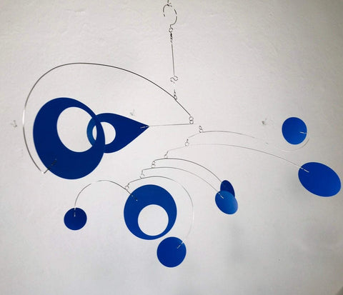 Mobile Royal Blue For Low Ceiling or Sun Room - Calypso Style Modern Kinetic Sculpture