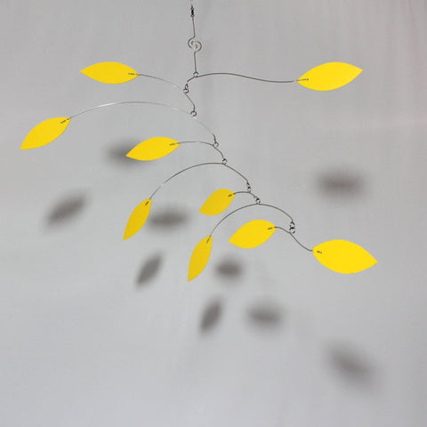 Mobile in Yellow Leaf Vine Style Kinetic Sculpture