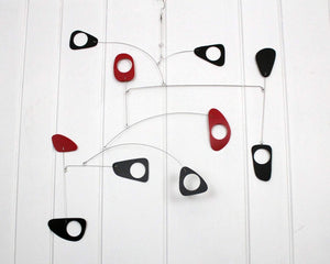 Large Mobile Art Deco Style Red Black
