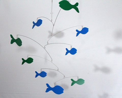 School of Blue and Green Fish Mobile