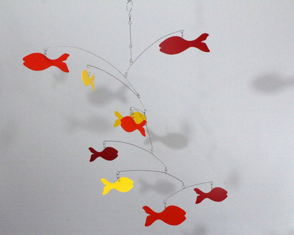 Fish Mobile in Red Orange and Yellow