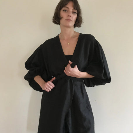 Black Balloon Sleeve Robe