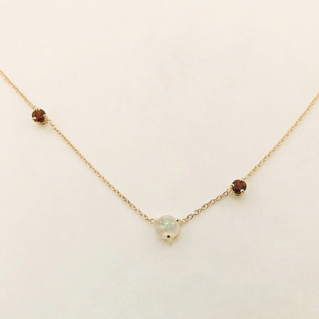 The Lovers Necklace / Garnet + Opal Necklace