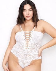 HAH Spinster Reversible Lace Bodysuit Blanc
