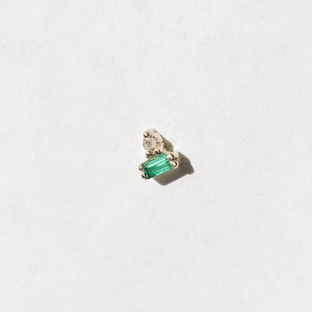Emerald + Diamond Stud