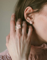 Rose cut light pink sterling silver shell ring