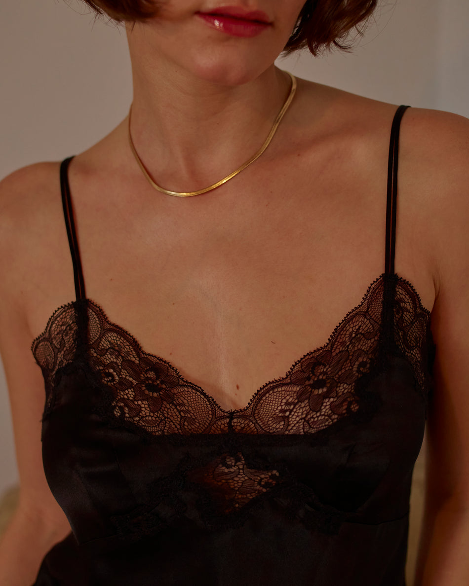 Only Hearts Silk Charmeuse Cami in Black