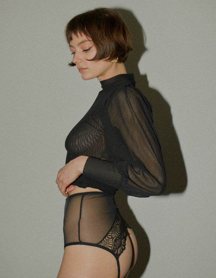Whisper Sweet Nothing Hi-Waist Brief in Black by Only Hearts