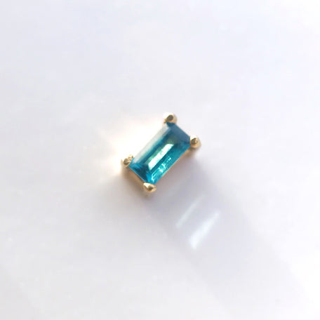 London Blue Topaz Baguette 14k Stud