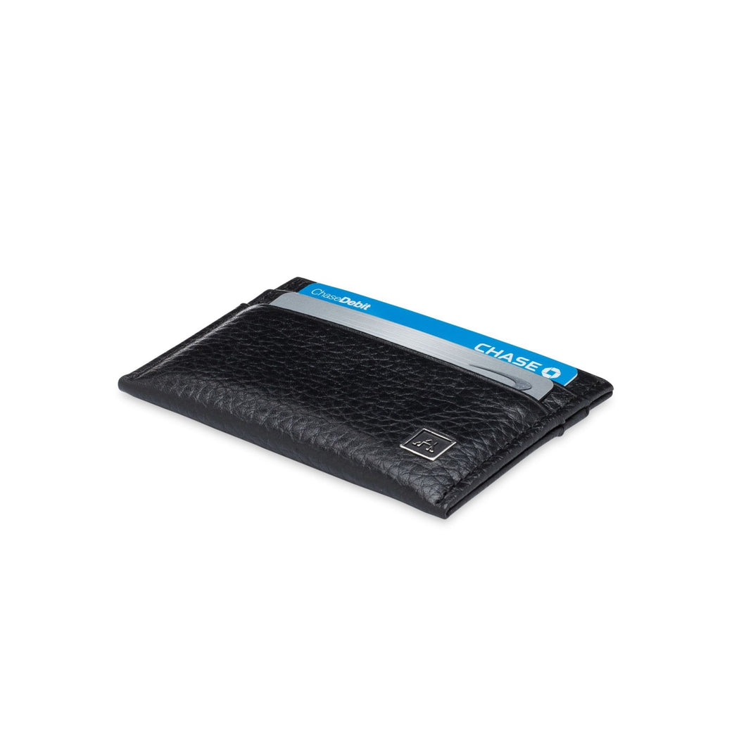 Minimalist Credit Card Wallet - Pebble Cowhide Leather