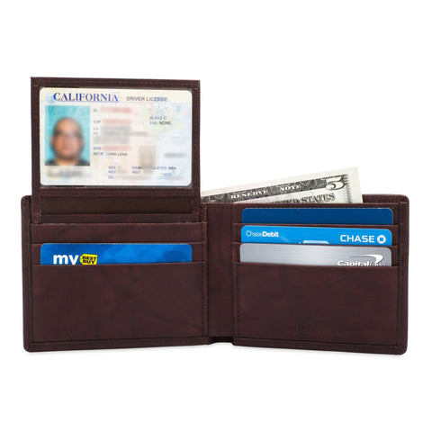 Billfold with ID Pullout - Buffalo Calf Crunch Leather