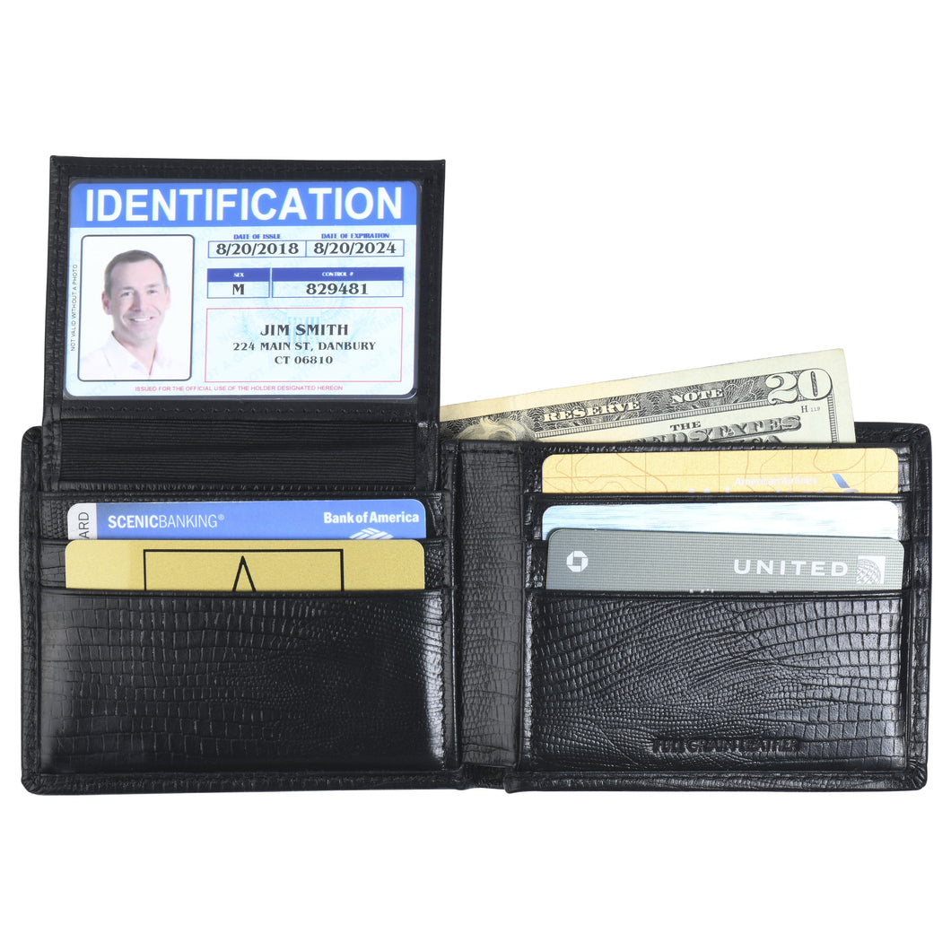 Billfold with ID Pullout - Cow Lizard Leather
