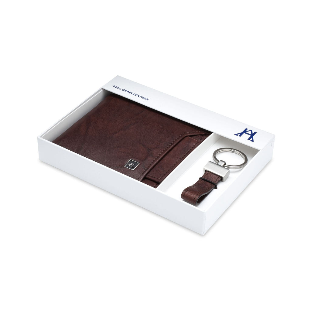 Removable ID Wallet w/key ring - Buffalo Calf Crunch Leather