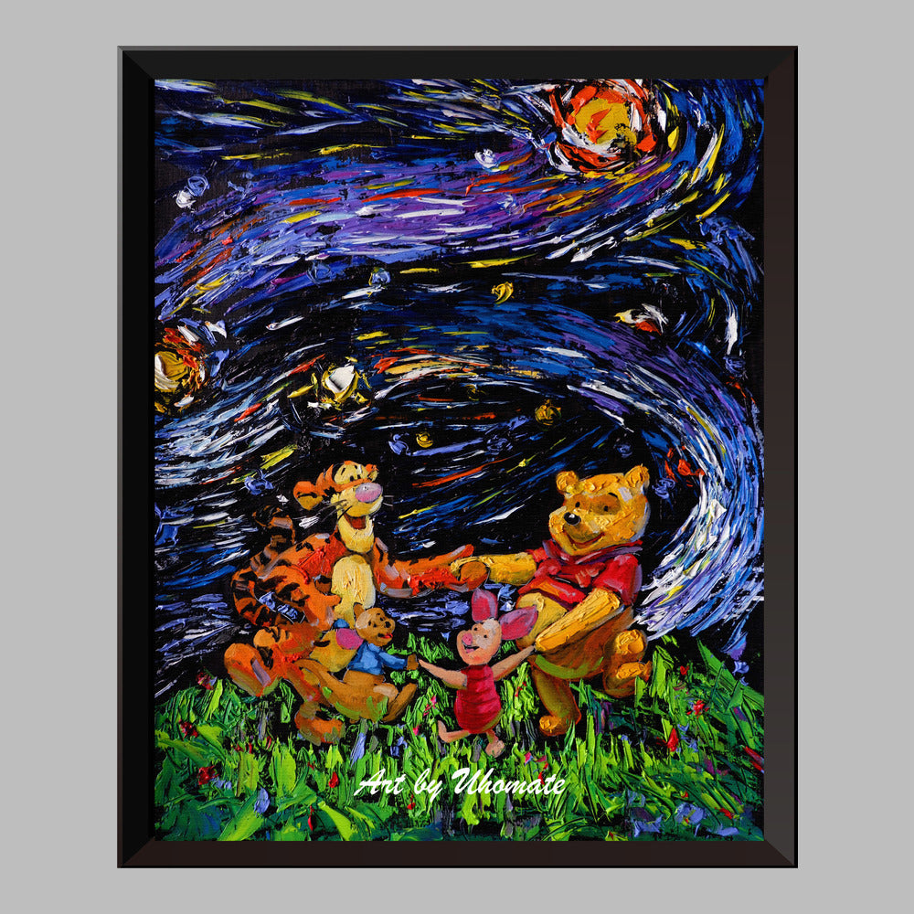 SHIPS FREE O14-CW CardsMatted Canvas Fine Art Keepsake Greeting Card featuring Starry Night Over the Rh\u00f4ne by Van Gogh