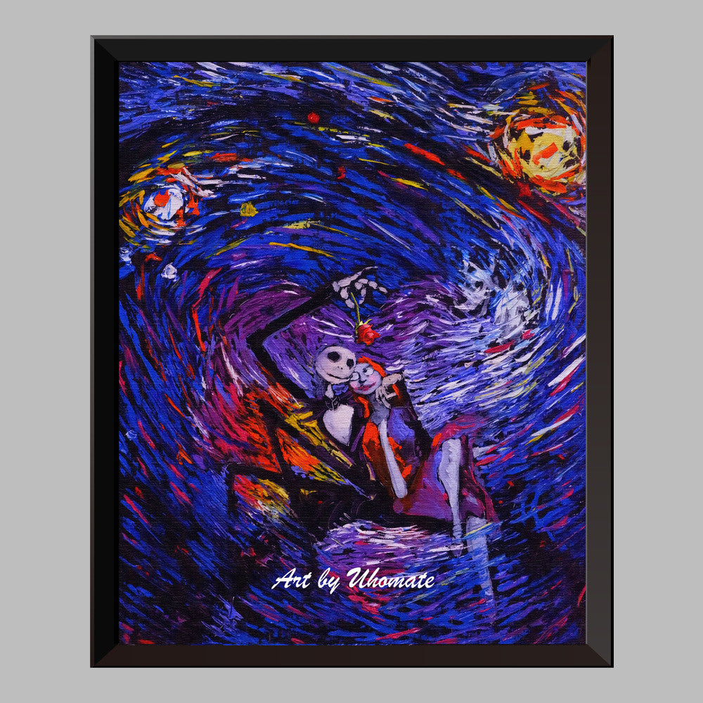 jack and sally nightmare before christmas van gogh starry night nursery decor canvas print a015