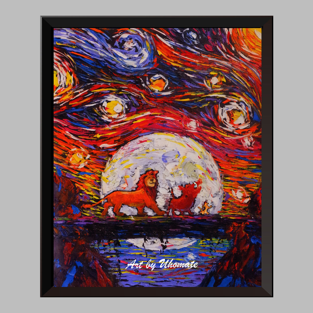 Starry Night Inspired The Lion King Wall Decor Nusery Decor Artwork