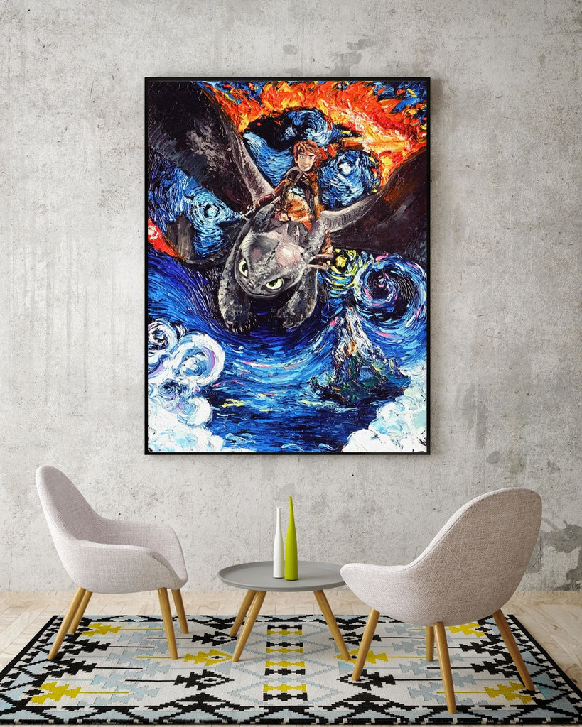 ... How to Train Your Dragon Van Gogh Starry Night Nursery Decor Canvas Print A076 - Aprilskys & Starry Night How to Train Your Dragon Wall Decor Nusery Decor