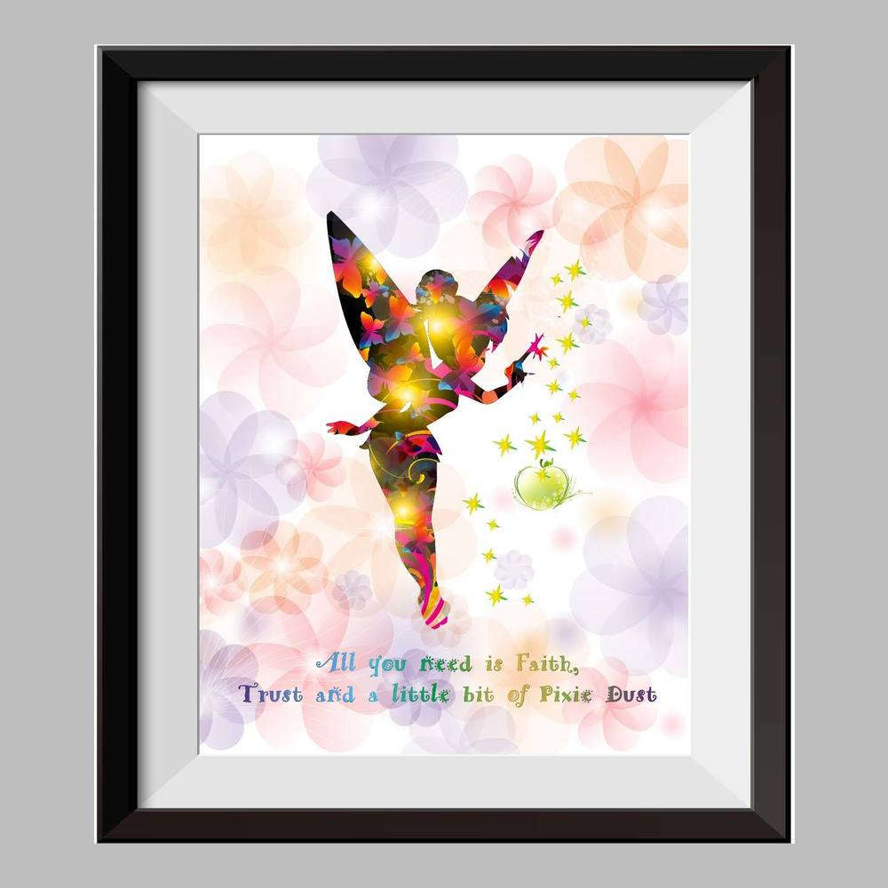 Princesss Tinkerbell Peter Pan Never Grow Up Watercolor Print