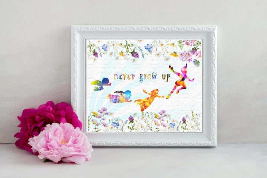 Peter Pan Never Grow Up Watercolor Print Nursery Decor Inspirational