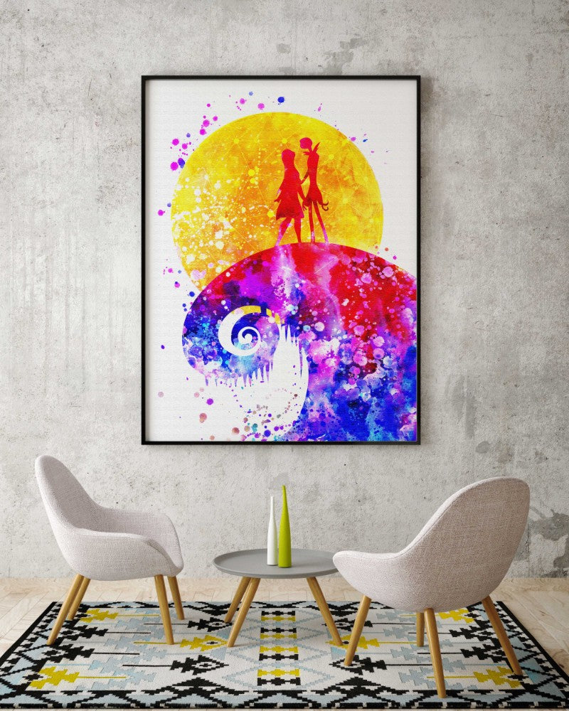 jack and sally nightmare before christmas watercolor canvas print nursery decor c042 aprilskys workshop